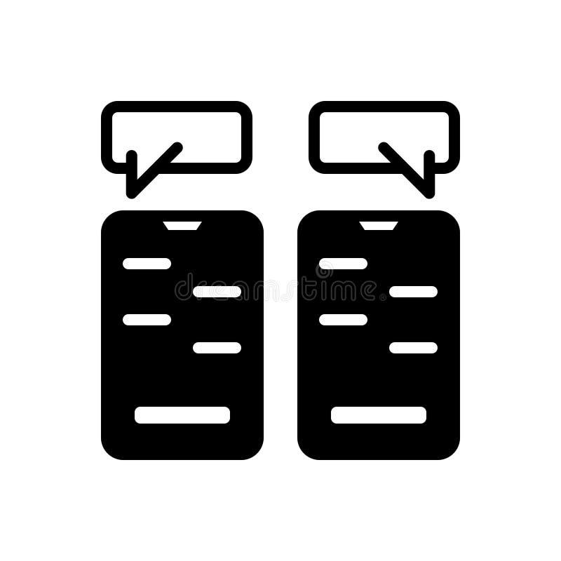 Zwart stevig pictogram voor het Babbelen, overseinen en app vector illustratie