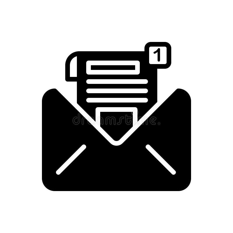 Zwart stevig pictogram voor het Bericht, het bericht en de mededeling van Inbox vector illustratie
