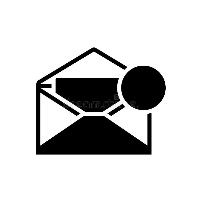 Zwart stevig pictogram voor het Bericht, het bericht en de mededeling van Inbox royalty-vrije illustratie