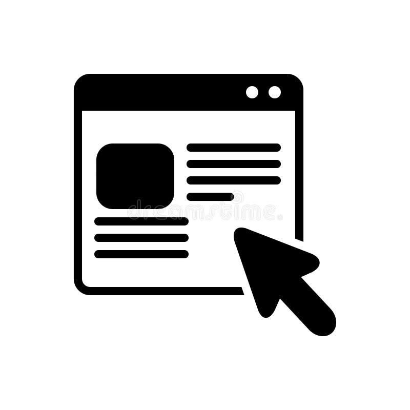 Zwart stevig pictogram voor het Online orde, winkelen en aankoop stock illustratie