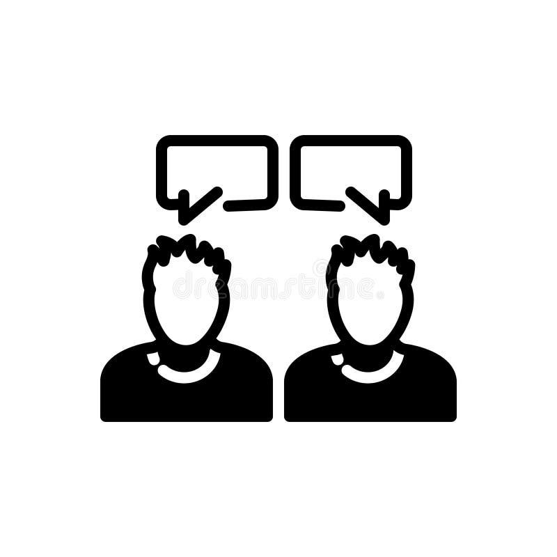 Zwart stevig pictogram voor het Spreken, mededeling en gesprek royalty-vrije illustratie
