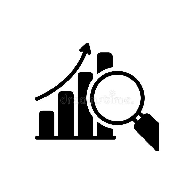 Zwart stevig pictogram voor het Symbool van de Gegevensanalyse, analyse en onderzoek royalty-vrije illustratie