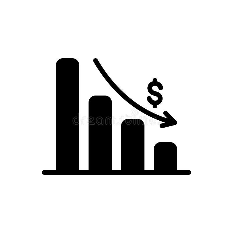 Zwart stevig pictogram voor het Uitputten van Grafiek, analytics en app royalty-vrije illustratie