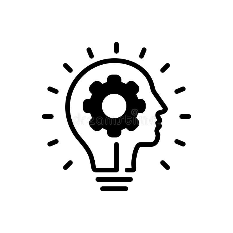Zwart stevig pictogram voor het Vernieuwen, innovatie en revolutie stock illustratie