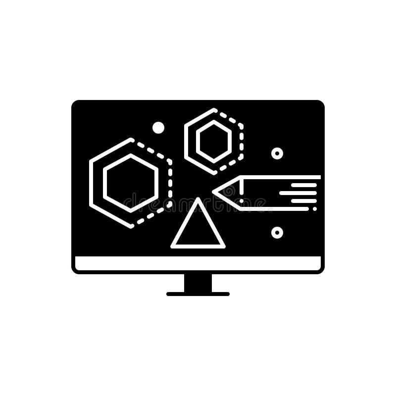 Zwart stevig pictogram voor het Visuele Ontwerpen, vaardigheid en ontwerper vector illustratie
