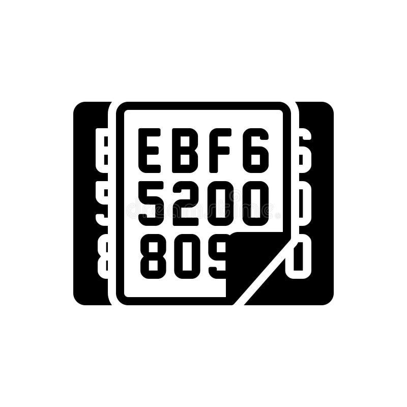 Zwart stevig pictogram voor Hexadecimaal, gegevens en veiligheid vector illustratie