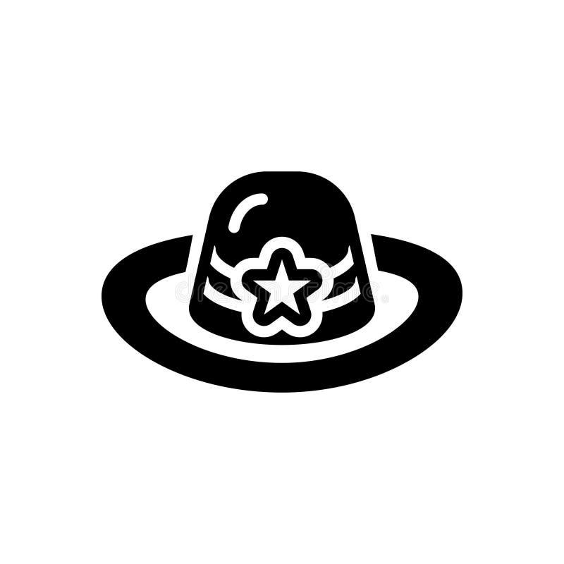 Zwart stevig pictogram voor Hoed, GLB en hoofddeksel royalty-vrije illustratie