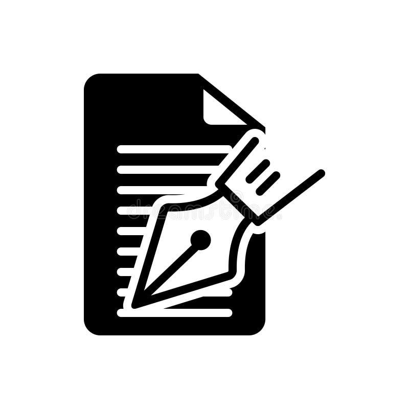 Zwart stevig pictogram voor Hoofdartikel, nota's en schrijver royalty-vrije illustratie
