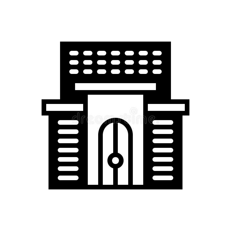 Zwart stevig pictogram voor Hotel, de bouw en architectuur vector illustratie