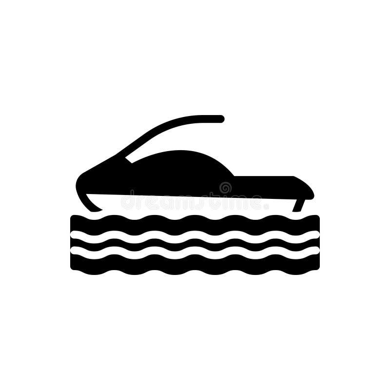Zwart stevig pictogram voor Hydrocycle, water en kring royalty-vrije illustratie
