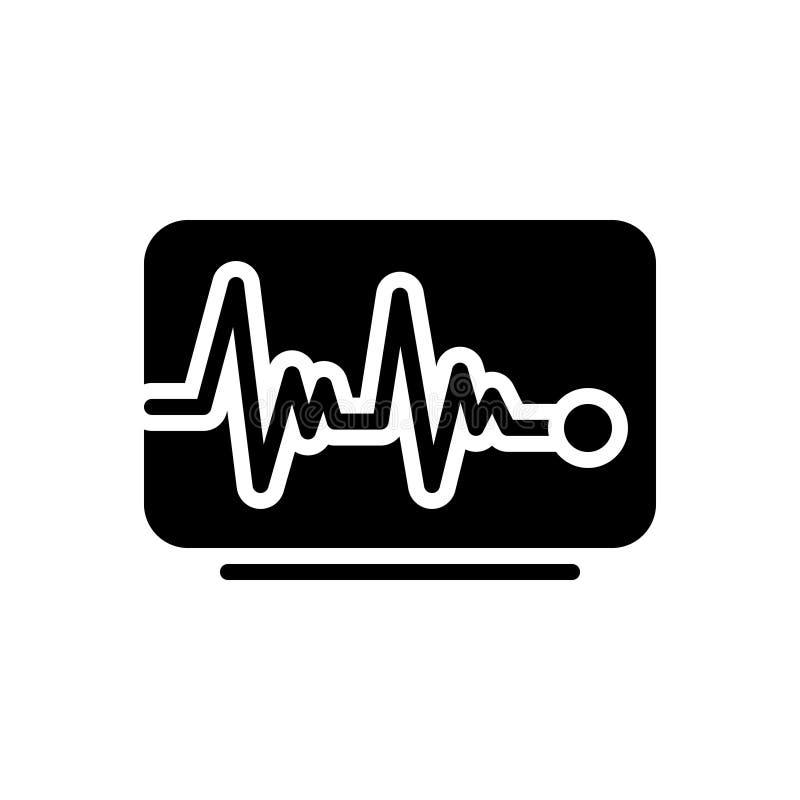 Zwart stevig pictogram voor Impulslijn, impuls en hart royalty-vrije illustratie