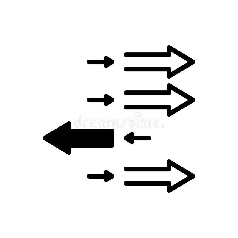 Zwart stevig pictogram voor Individualisering, pijl en voorwaarts royalty-vrije illustratie