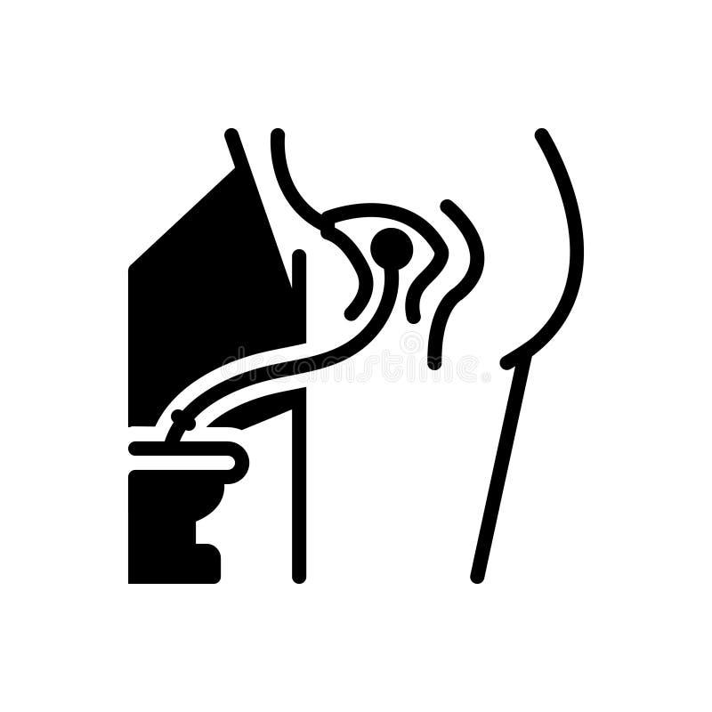 Zwart stevig pictogram voor Indwelling, gezamenlijk en pijn vector illustratie