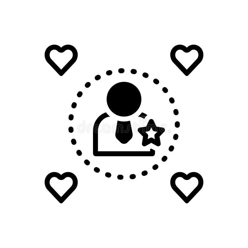 Zwart stevig pictogram voor Influencers, indrukwekkend en invloedrijk vector illustratie