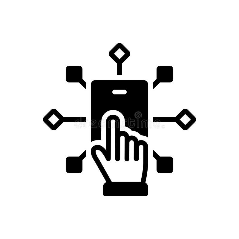 Zwart stevig pictogram voor Infotech, aanraking en technologie vector illustratie