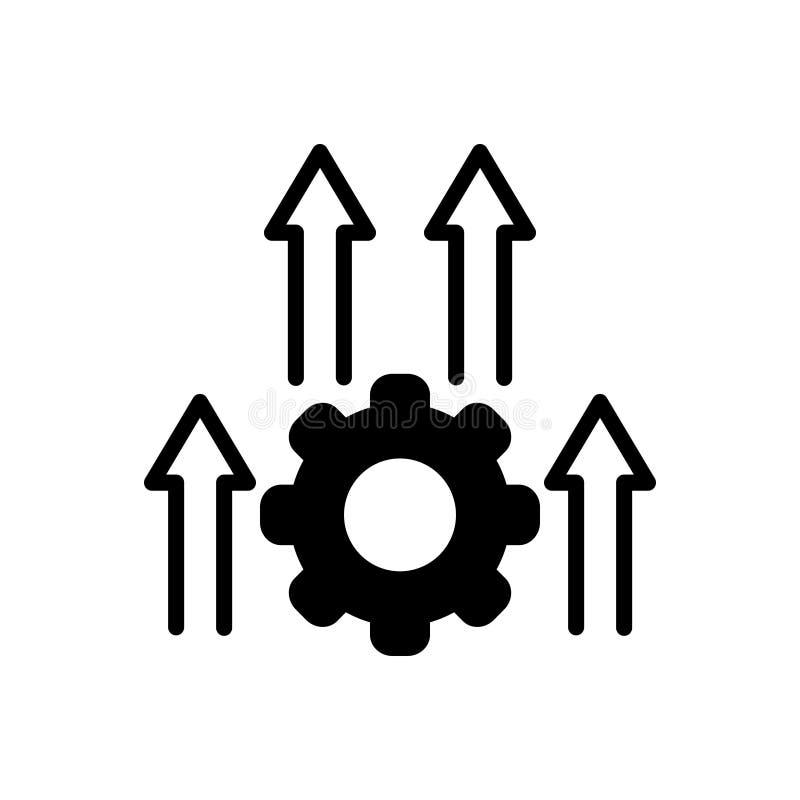 Zwart stevig pictogram voor Inprocessing, proces en vooruitgang royalty-vrije illustratie