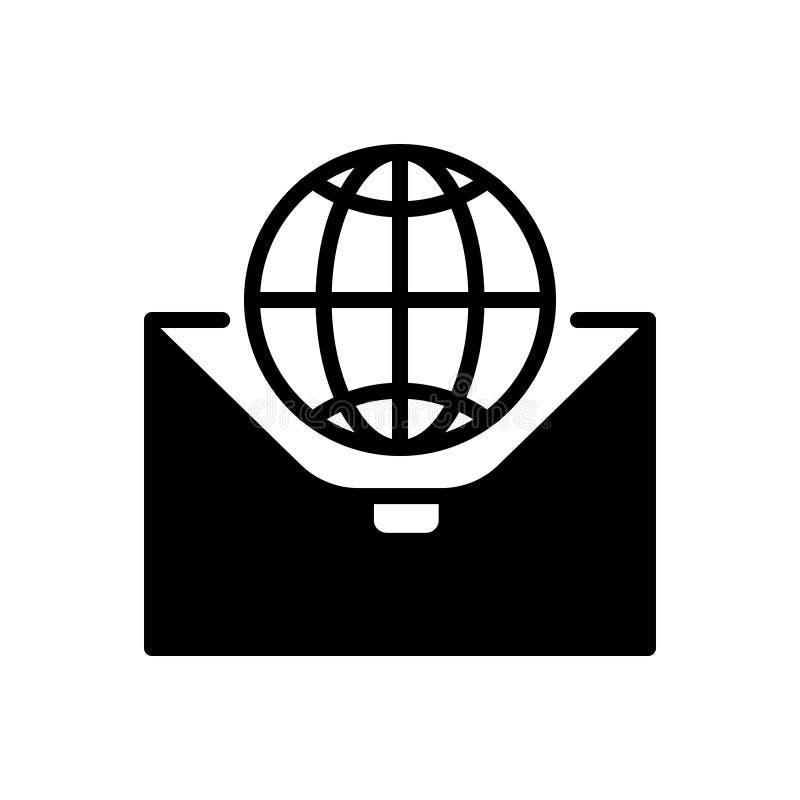 Zwart stevig pictogram voor Internationaal, Zaken en globalisering vector illustratie