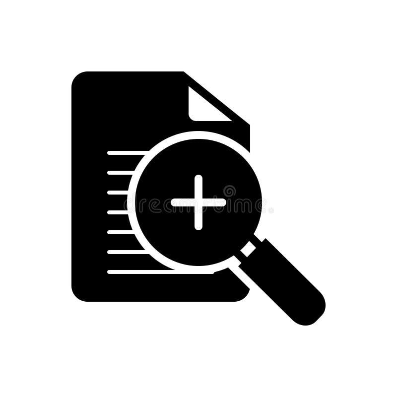 Zwart stevig pictogram voor Inzoomen, hulpmiddel en toepassing royalty-vrije illustratie