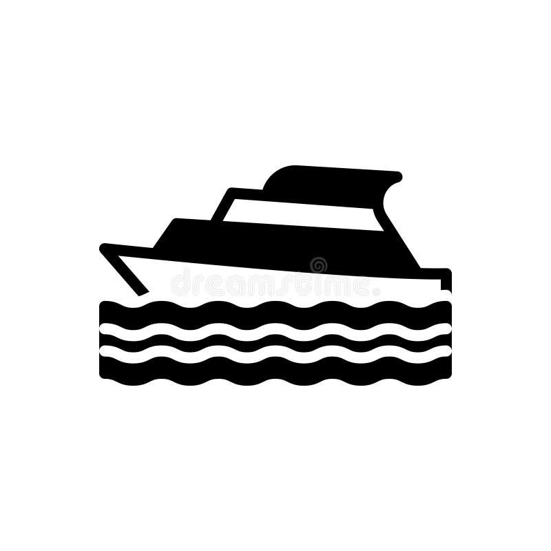 Zwart stevig pictogram voor Jacht, cruise en schip vector illustratie