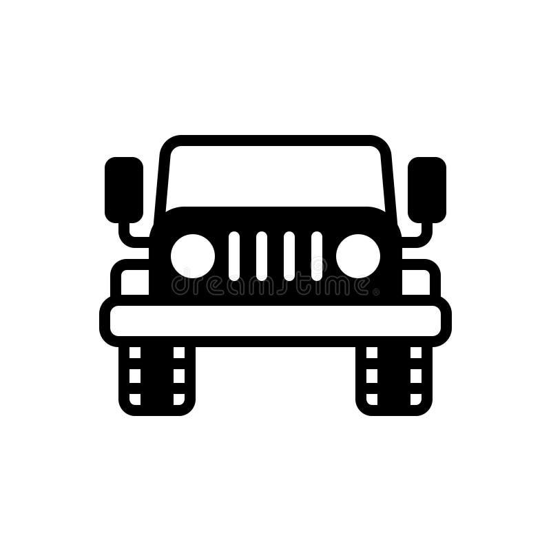 Zwart stevig pictogram voor Jeep, auto en vervoer stock illustratie