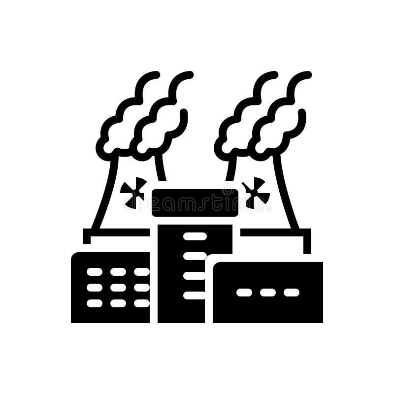 Zwart stevig pictogram voor Kerncentrale, macht en thermisch stock illustratie