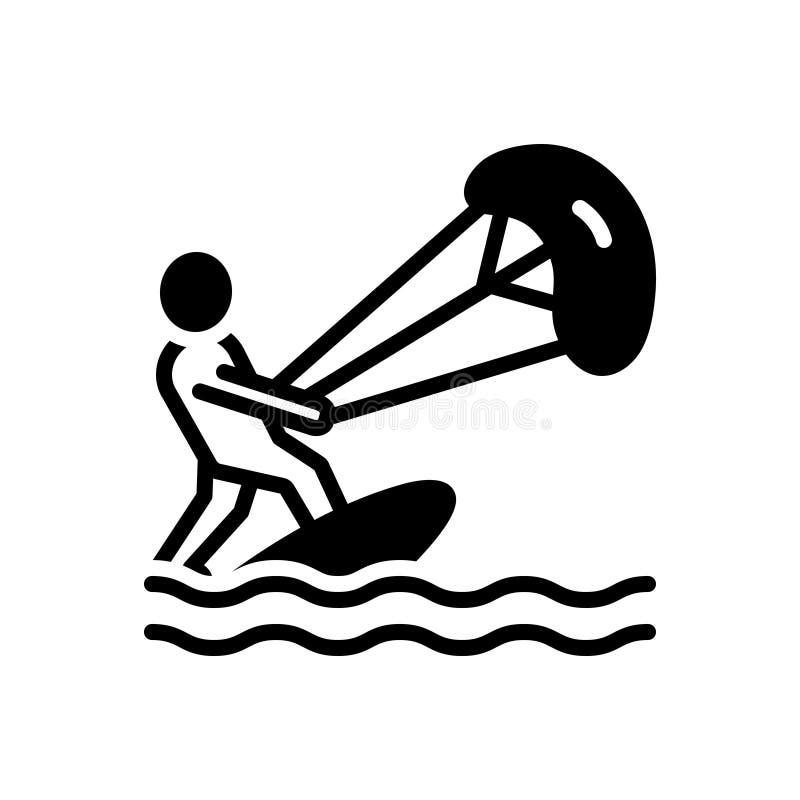 Zwart stevig pictogram voor Kitesurf, acrobatisch en avontuur vector illustratie