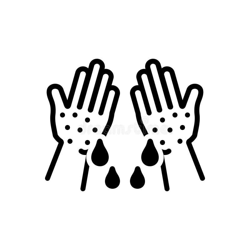 Zwart stevig pictogram voor Klam, kleverig en kleverig royalty-vrije illustratie