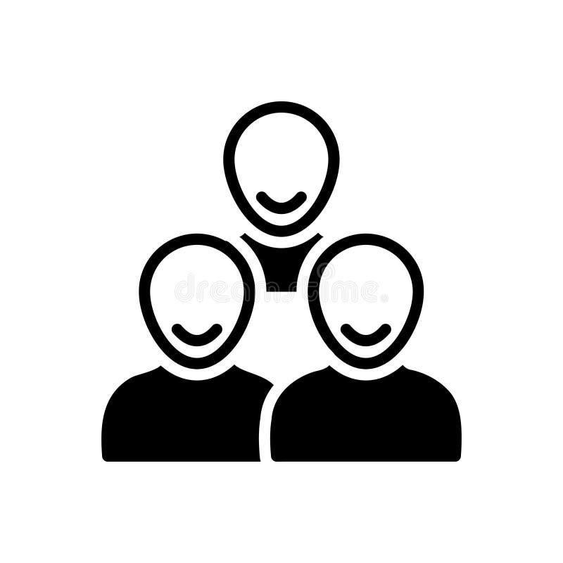Zwart stevig pictogram voor Klanten, cliënten en mensen vector illustratie