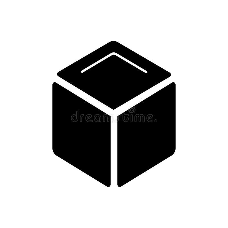 Zwart stevig pictogram voor Kubus, 3d kubus en doos royalty-vrije illustratie