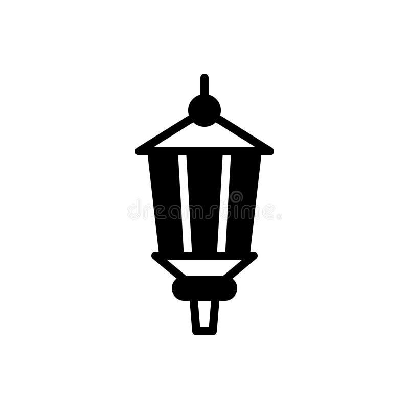 Zwart stevig pictogram voor Lamppost, lamp en oud stock illustratie
