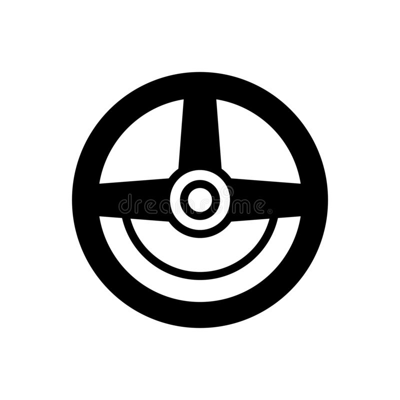 Zwart stevig pictogram voor Leiding, wiel en auto royalty-vrije illustratie