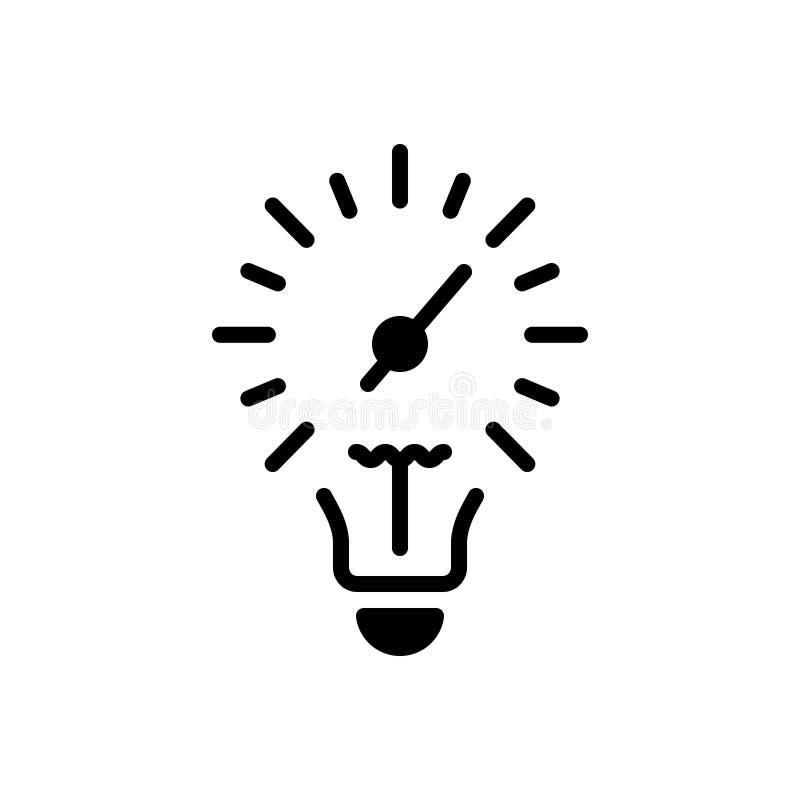 Zwart stevig pictogram voor Licht, snelheid en gevolgen stock illustratie