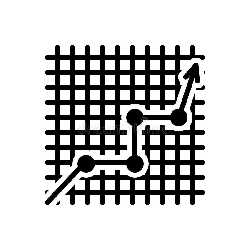 Zwart stevig pictogram voor Lijn Grafisch bij Geruit, gegevens en het stijgen royalty-vrije illustratie