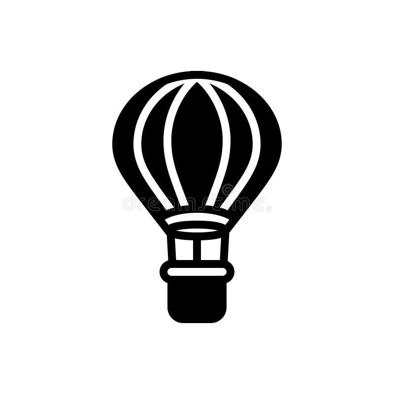 Zwart stevig pictogram voor Luchtballon, reis en avontuur stock illustratie