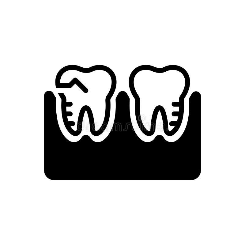 Zwart stevig pictogram voor Maalsilhouet, behandeling, orthodontie vector illustratie