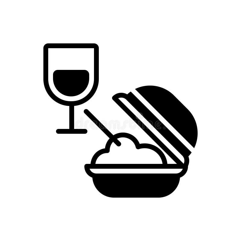 Zwart stevig pictogram voor Maaltijd, voedsel en eetbaar royalty-vrije illustratie