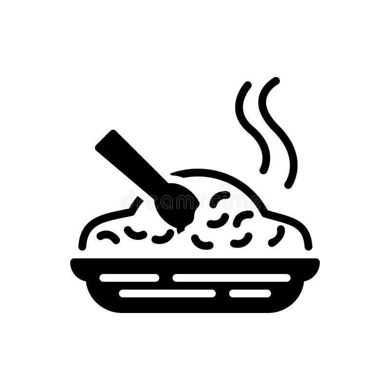 Zwart stevig pictogram voor Maaltijd, voedsel en eetbaar vector illustratie
