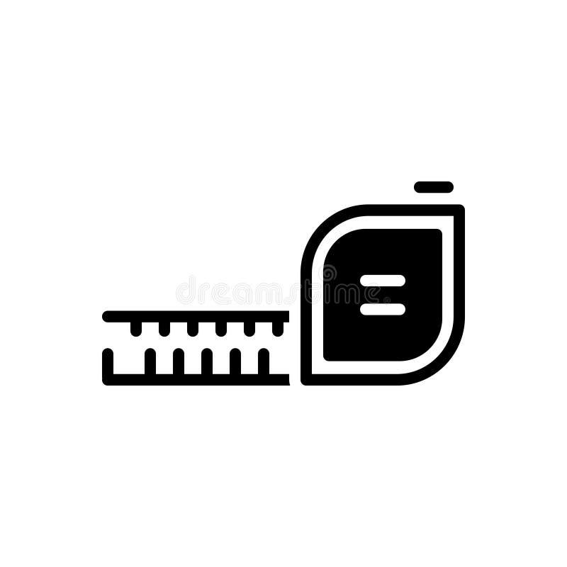 Zwart stevig pictogram voor Maatregel, schaal en afmeting stock illustratie