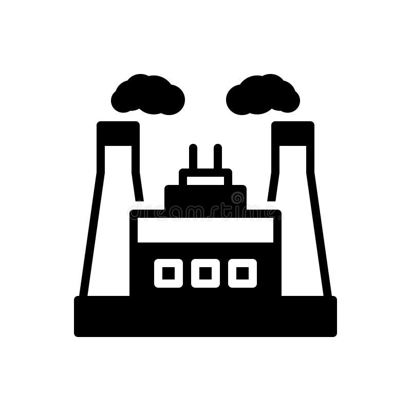 Zwart stevig pictogram voor Machtsindustrie, macht en thermisch vector illustratie