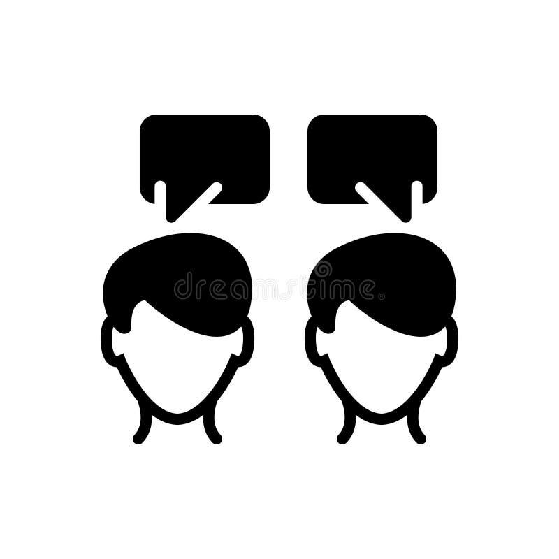 Zwart stevig pictogram voor Mededeling, het spreken en gesprek royalty-vrije illustratie
