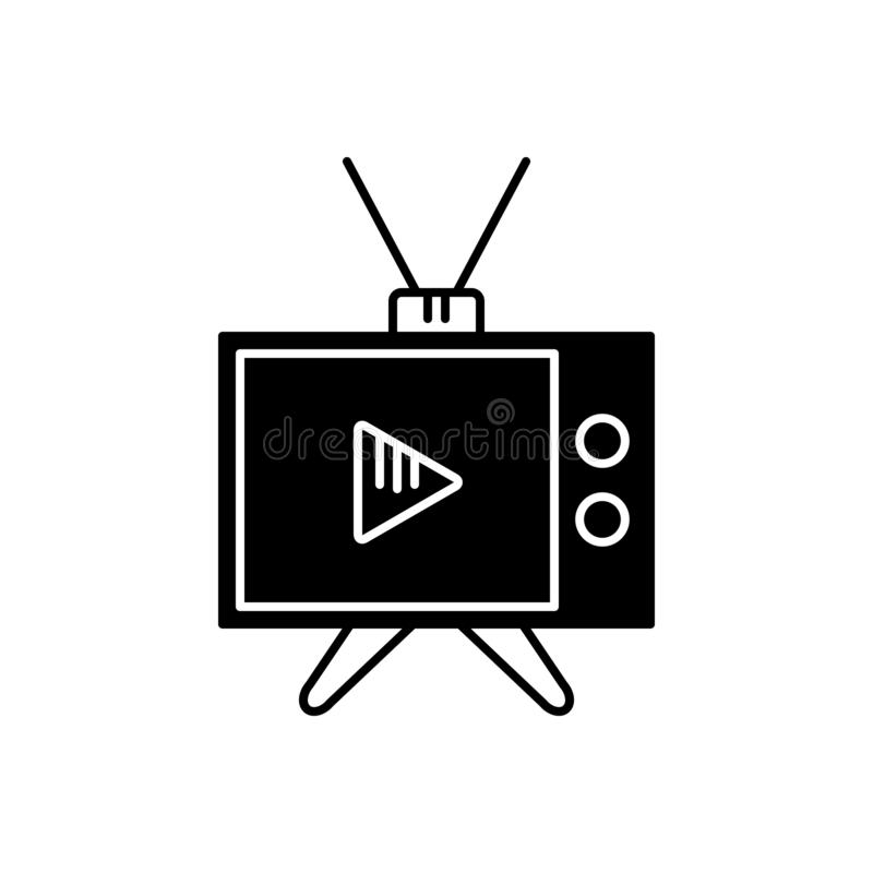 Zwart stevig pictogram voor Media, middelen en TV stock illustratie