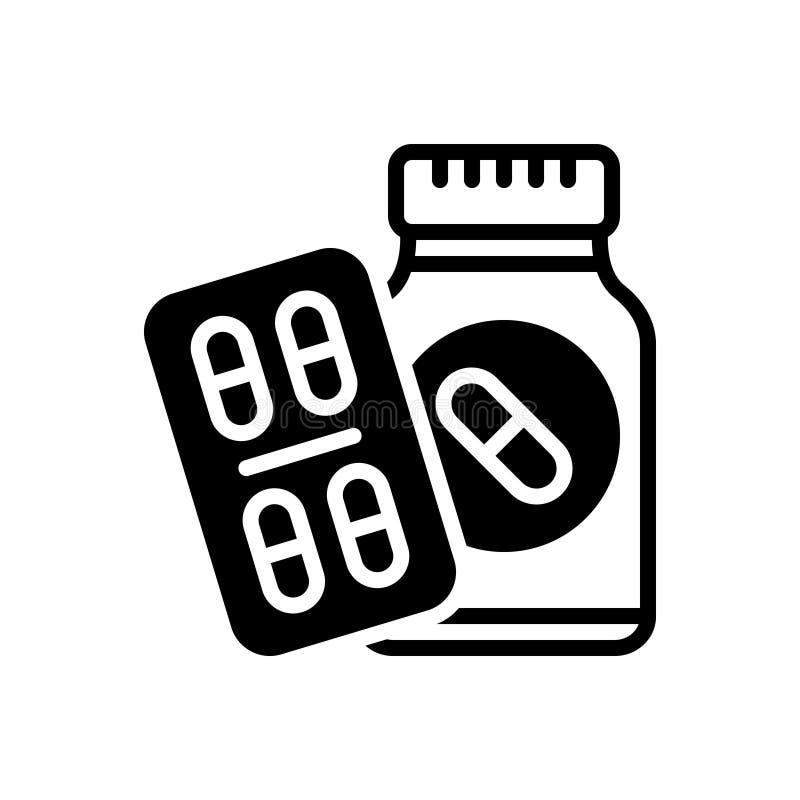 Zwart stevig pictogram voor Medicijnpillen, medicijn en antibioticum royalty-vrije illustratie