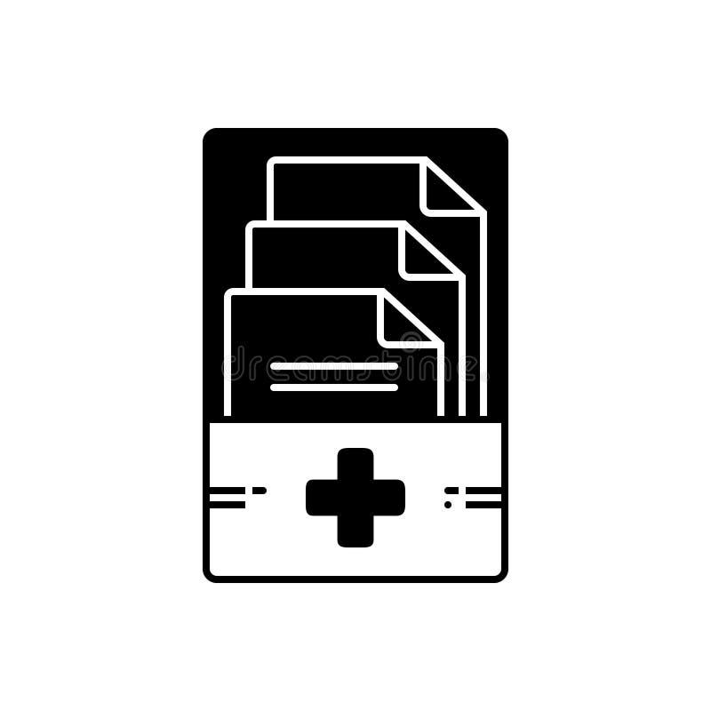 Zwart stevig pictogram voor Medische dossiers, beheer en informatie royalty-vrije illustratie