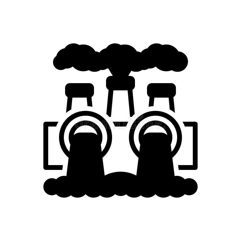 Zwart stevig pictogram voor Milieuvervuiling, macht en thermisch vector illustratie