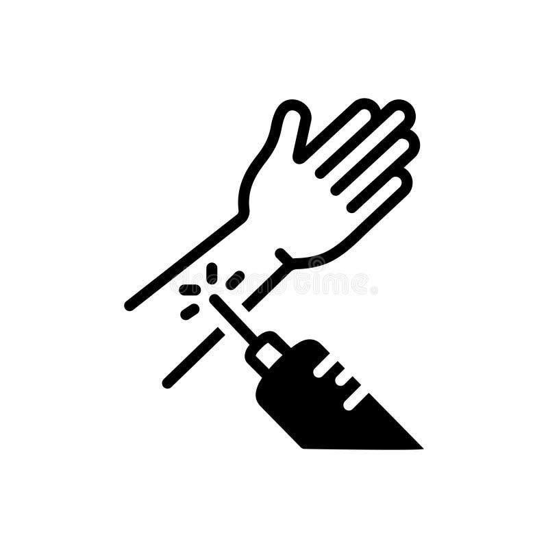 Zwart stevig pictogram voor moeiteloos, behandeling en medisch vector illustratie