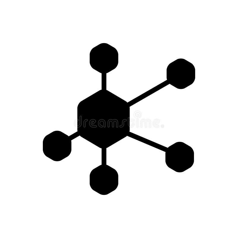 Zwart stevig pictogram voor Netwerk, structuur en sociaal netwerk royalty-vrije illustratie