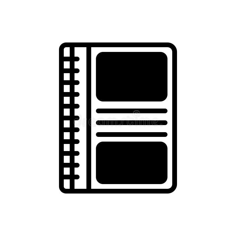 Zwart stevig pictogram voor Notitieboekje, model en agenda royalty-vrije illustratie