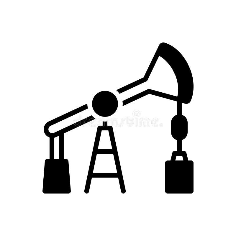 Zwart stevig pictogram voor Oliepomp, boortoren en benzine vector illustratie