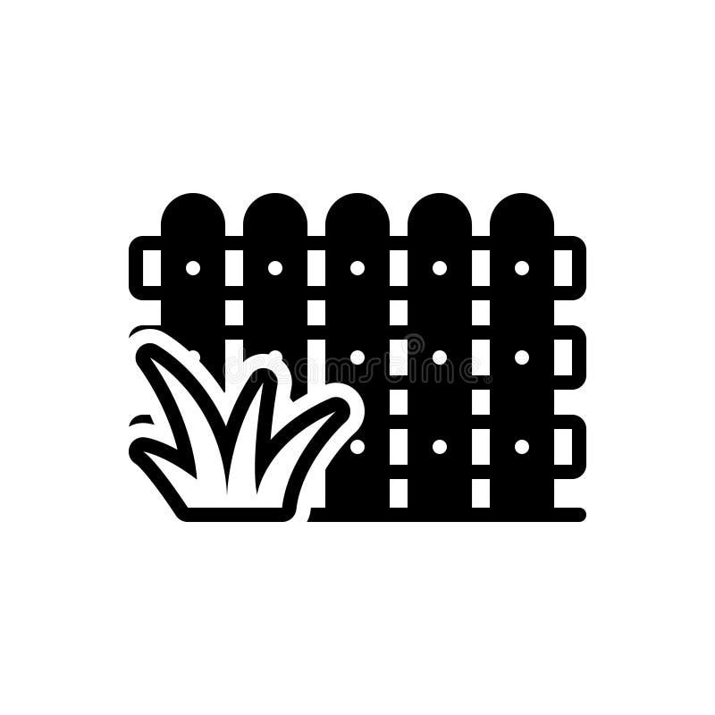 Zwart stevig pictogram voor Omheining, tuin en hout stock illustratie