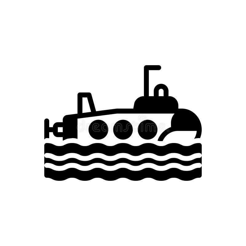 Zwart stevig pictogram voor Onderzeeër, golf en reis royalty-vrije illustratie